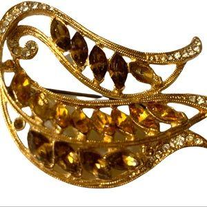 Vintage Gemstone Gold Coloured Embellished Brooch